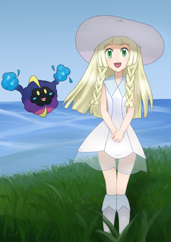 Lillie and Cosmog - Pokemon Sun and Moon by Weresdrim