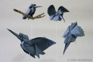 Origami Kingfisher by GEN-H