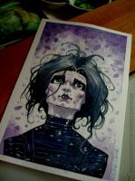 Edward scissorhands watercolor pic by rogercruz