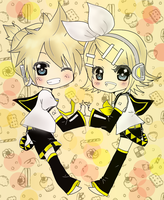 rin and len vocaloid by XterryXtheXdarlingX
