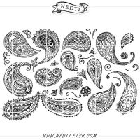 Paisley Hand Drawn Clipart by Nedti by Nedti