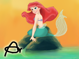 The Little Mermaid - Ariel On A Rock by Roo-Pooh
