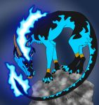 Flame Dragon on a rock by DragonRider428
