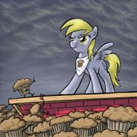Derpy vs. the Muffin Men by GiantMosquito