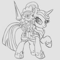 Commission:  Armored Twilight and Spike Shadowbox by The-Paper-Pony