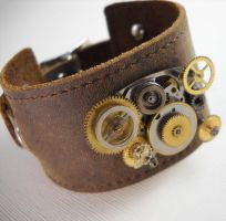 Steampunk Leather Cuff -Unisex by Nite0wlStudios