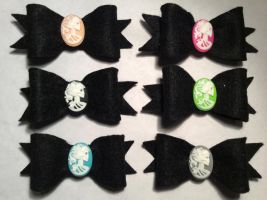 Skeleton Cameo Bows by Hairwego13