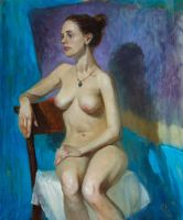 Stude sitting nude model by SergeiKrylov
