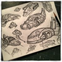 Spaceship and Vehicle sketches by Kamenliter
