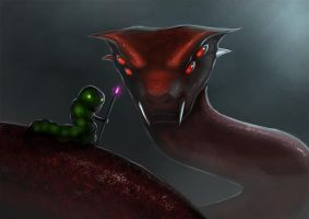 Demon Snake And The Caterpillar by Glauqu3