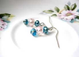 aqua and pink earrings by faranway