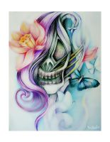 Purple happy and dead - art print, drawing by MarinaAlex