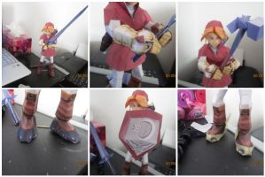 Red endgame link papercraft by Odolwa5432