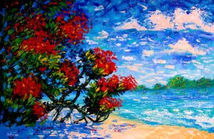 Red Flower Tree Beach Blue Sky Landscape Art by EkaterinaChernova