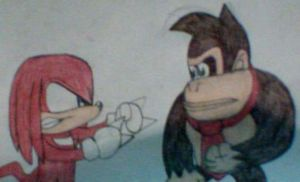 Knuckles vs. Donkey Kong by MollyKetty