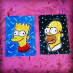 Homer and Bart Simpson sketch cards by FrijolesGirl
