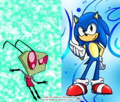 Invader Zim and Sonic the hedgehog by zavraan