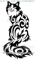 Sitting Tribal Cat Design by WildSpiritWolf