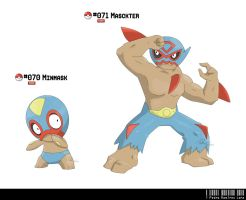 070 - 071: Lucha Libre Fakemon by LeafyHeart