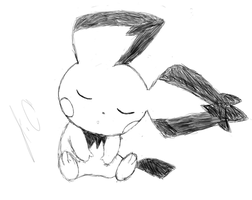 Tablet Practice: Sleeping Pichu Sketch by JamalC157