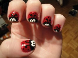 Lady Bug Nails by racing-kites