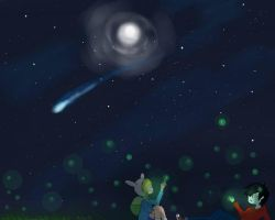 marshall lee and fionna starry fireflies sky by XxblackchocochipXx