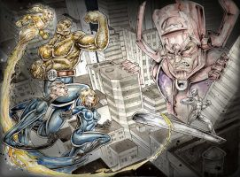 Fantastic FOUR vs Galctus and silver surfer by Vinz-el-Tabanas