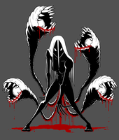 Tentacle Horror Lady T-Shirt Design / Artwork by ebbewaxin