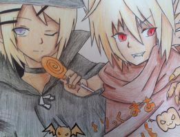 Rin and Len Halloween by KinSendou
