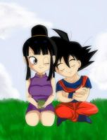 Chichi and Goku Chibi by kaxrei