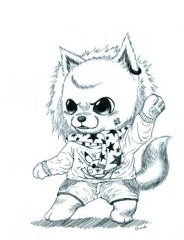 cute white pomeranian character kungfu by ggulhim75