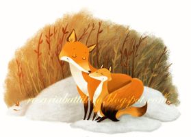 Foxes in the snow by Nachan