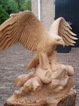 Eagle with fish in progress8 by woodcarve