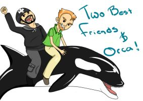 Matt and Pat riding Orca Whale -TBFP by LinkasZelda