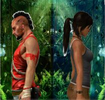 Two separate ways,Vaas and Lara by Hatredboy