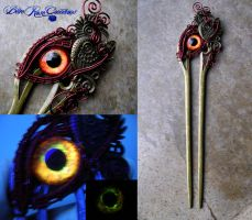 Phoenix Hair Fork Pin - Fire Eye by LadyPirotessa