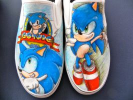 Sonic the Hedgehog slip-ons by CrimsonVip3r