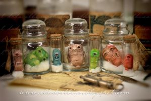 Bottled diseases , ooak scultps . by dodoalbino