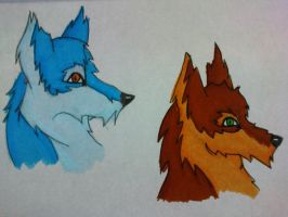 My Pen Coloured wolves... by Onii-Jurai