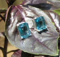 Swiss Blue Topaz Stud Earrings by Izile