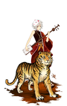 :Shamisen Player and Tiger: by Aka-Aaru