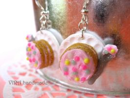 Kawaii cake with a spoon earrings by virahandmade