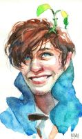 Newt Scamander watercolor fanart  by Mumium