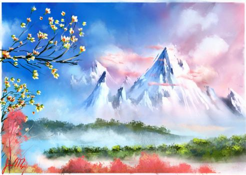 Bob Ross: Cherry blossoms by theWinkWonk