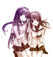 Kyou and Ryou - Clannad by vivsters