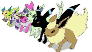 Shiny Eeveelutions by FirePokemonFan