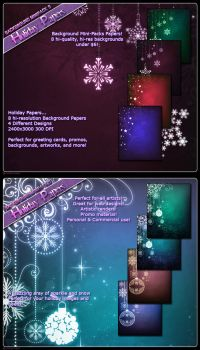 Background Mini xmas Papers by cosmosue