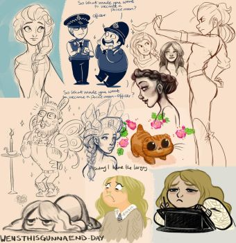 Early 2014 sketchdump by StressedJenny