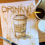 Coffee Painting: Drink Up by alisagirard