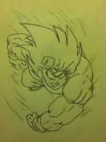 Goku saving Earth by AlphaTigron